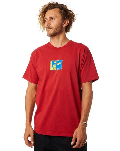 FIRE RED MENS CLOTHING OBEY TEES - 166911770FRED