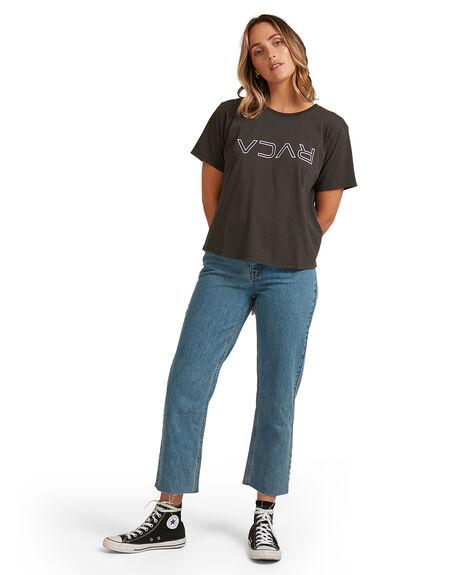 WASHED BLACK WOMENS CLOTHING RVCA TEES - RV-R205685-WBK