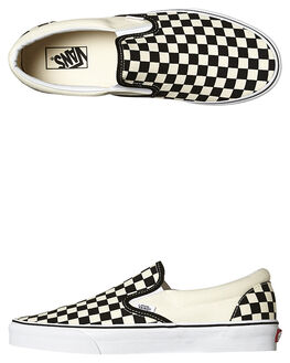 BLACK WHITE CHECKER MENS FOOTWEAR VANS SLIP ONS - SSVN-0EYEBWWM1
