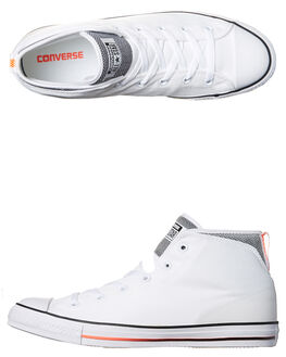 WHITE BLACK ORANGE MENS FOOTWEAR CONVERSE SNEAKERS - 155480WHI