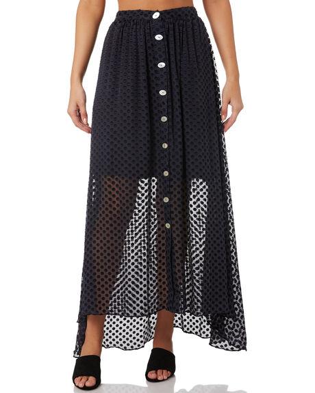 NAVY SILK DOT WOMENS CLOTHING MLM LABEL SKIRTS - MLM546CNVY