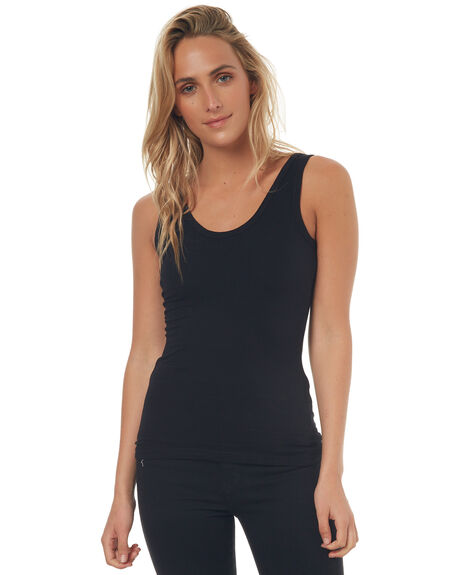 BLACK WOMENS CLOTHING BETTY BASICS SINGLETS - BB217BLK