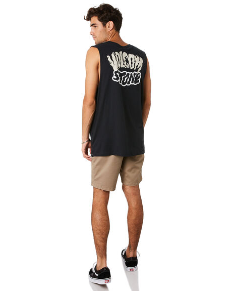 BLACK MENS CLOTHING VOLCOM SINGLETS - A4501917BLK