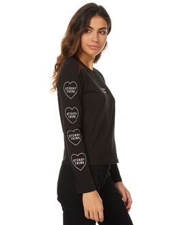 BLACK WOMENS CLOTHING STUSSY TEES - ST176010BLK