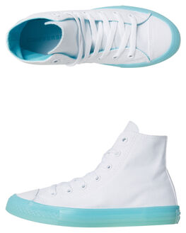 WHITE BLEACHED AQUA KIDS GIRLS CONVERSE HI TOPS - 660718AQU