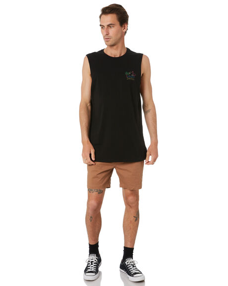 BLACK MENS CLOTHING SWELL SINGLETS - S5222278BLK