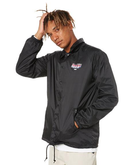 BLACK MENS CLOTHING HUF JACKETS - JK00321-BLACK