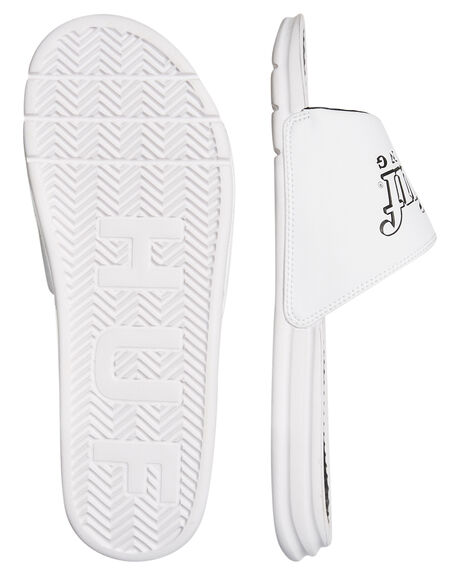 WHITE MENS FOOTWEAR HUF SLIDES - CP00003WHI