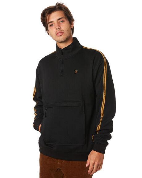 BLACK MENS CLOTHING BRIXTON JUMPERS - 02664BLACK