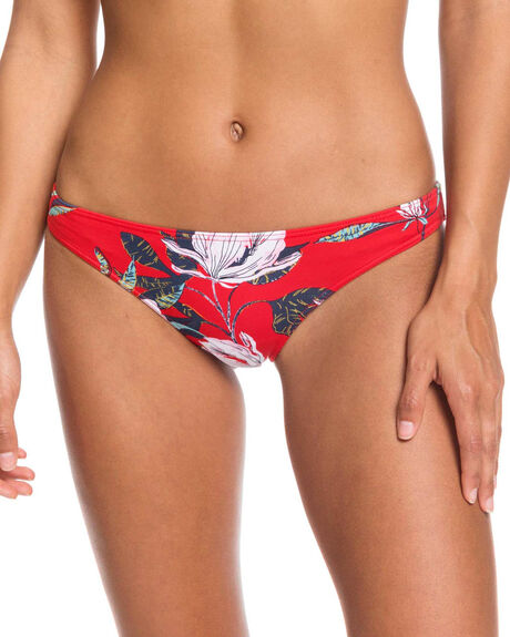 CHINESE RED TROPICAL WOMENS SWIMWEAR ROXY BIKINI BOTTOMS - ERJX403849-RQQ6