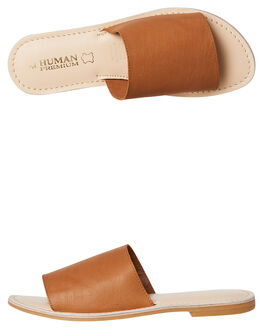 TAN LEATHER WOMENS FOOTWEAR HUMAN FOOTWEAR SLIDES - TRINITYTLTR