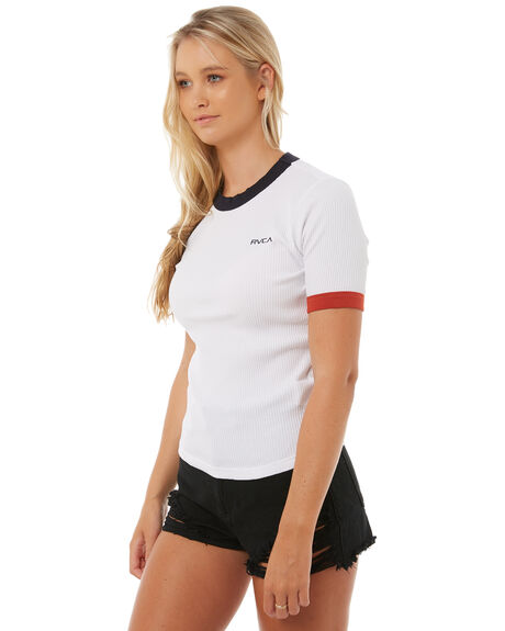 VINTAGE WHIT WOMENS CLOTHING RVCA TEES - R283701VWHT