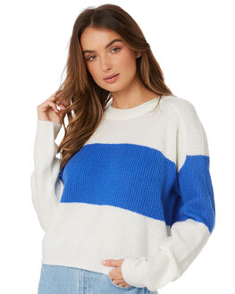 WHITE BLUE WOMENS CLOTHING TWIIN KNITS + CARDIGANS - IE19S2801WHBL