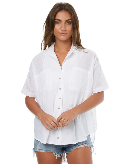 WHITE WOMENS CLOTHING ZULU AND ZEPHYR FASHION TOPS - ZZ1664WHT