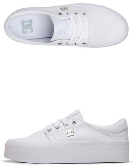 WHITE/SILVER WOMENS FOOTWEAR DC SHOES SNEAKERS - ADJS300196-WS4