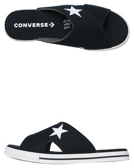 BLACK WHITE WOMENS FOOTWEAR CONVERSE SLIDES - 565527CBLKW