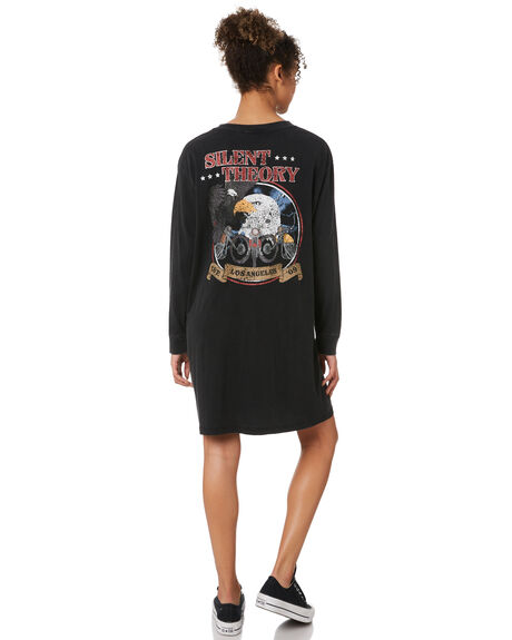 WASHED BLACK WOMENS CLOTHING SILENT THEORY DRESSES - 6083007WBLK