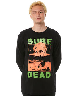 BLACK MENS CLOTHING SURF IS DEAD TEES - SD17P4-14BLK