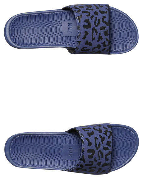 BLUE LEOPARD MENS FOOTWEAR HUF SLIDES - CP00003BLU