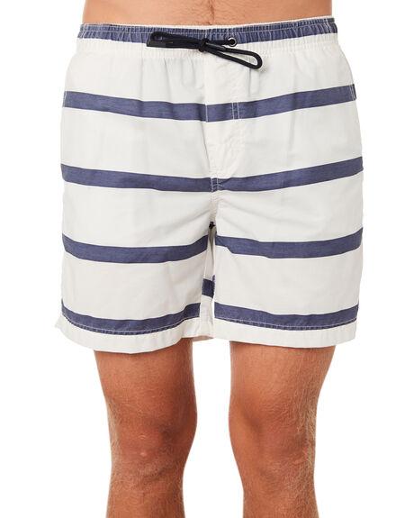 WHITE NAVY STRIPE MENS CLOTHING ACADEMY BRAND BOARDSHORTS - 19S720WHNVS