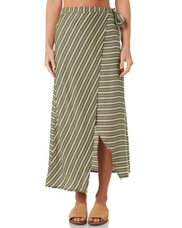 WHITE KHAKI STRIPE WOMENS CLOTHING ALL ABOUT EVE SKIRTS - 6423015KHAK
