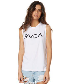 WHITE WOMENS CLOTHING RVCA SINGLETS - R271004WHT