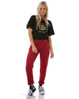 BLACK WOMENS CLOTHING STUSSY TEES - ST185000BLK