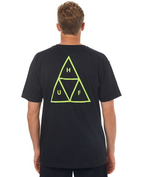 BLACK MENS CLOTHING HUF TEES - TS00220BLK