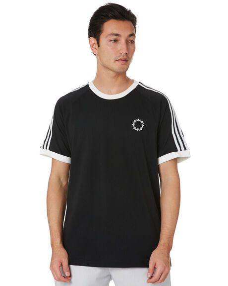 BLACK WHITE MENS CLOTHING ADIDAS TEES - FU1535BLKWT