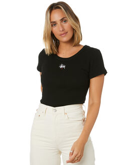 BLACK WOMENS CLOTHING STUSSY TEES - ST106115BLK