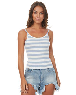 BLUE WHITE WOMENS CLOTHING MINKPINK SINGLETS - MP1706010BLUWT