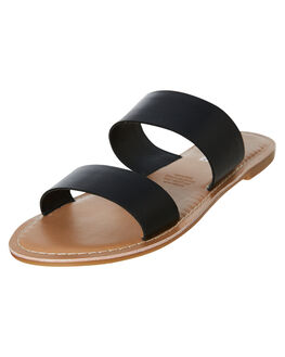 BLACK OUTLET WOMENS HUMAN FOOTWEAR SLIDES - DAKOTABLK