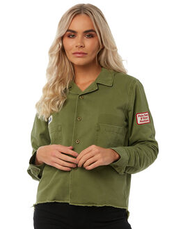 ARMY GREEN WOMENS CLOTHING THRILLS JACKETS - WTA8-206FARMY