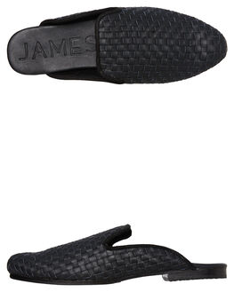 BLACK LEATHER WOVEN OUTLET WOMENS JAMES SMITH FLATS - 8056091BLK