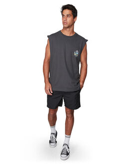 PIRATE BLACK MENS CLOTHING RVCA SINGLETS - RV-R107004-PTK