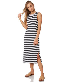 VINTAGE BLACK STRIPE WOMENS CLOTHING ELWOOD DRESSES - W93719GEE