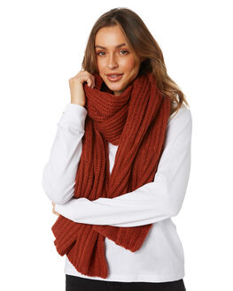 BURNT ORANGE WOMENS ACCESSORIES RIP CURL SCARVES + GLOVES - GSACE11257