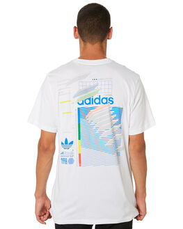 WHITE BLUE GREEN MENS CLOTHING ADIDAS TEES - DU8392WBG