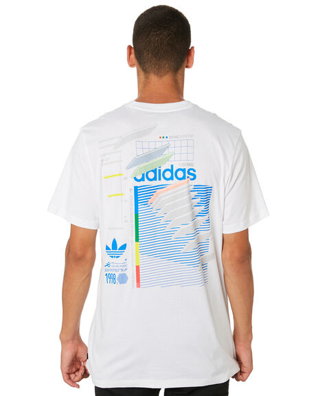 WHITE BLUE GREEN MENS CLOTHING ADIDAS TEES - DU8392WBG