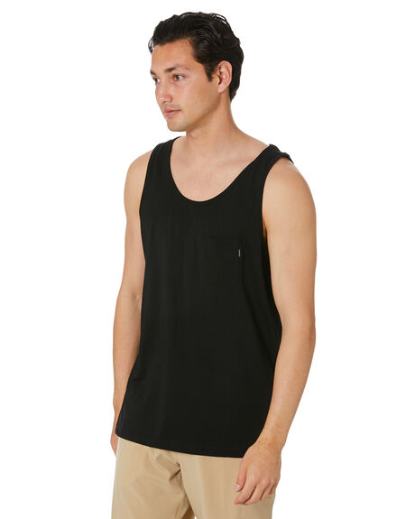 BLACK MENS CLOTHING RIP CURL SINGLETS - CTEMD90090
