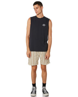 HERITAGE BLACK MENS CLOTHING THRILLS SINGLETS - TH9-111HBHRBLK