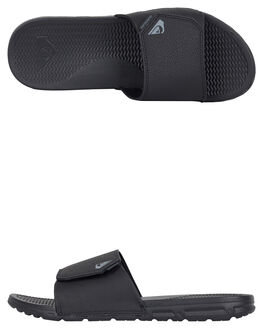 BLACK BLACK BROWN MENS FOOTWEAR QUIKSILVER SLIDES - AQYL100883-XKKC