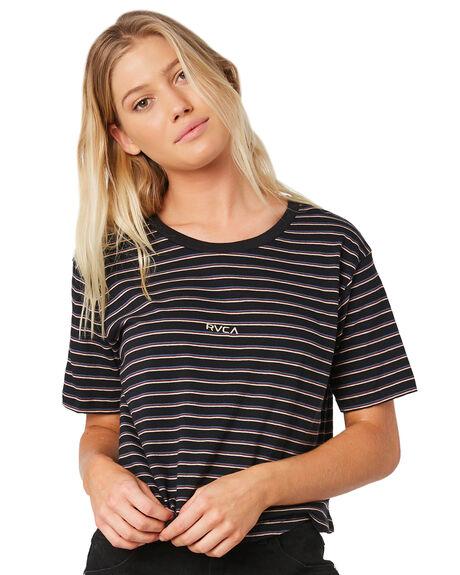 BLACK WOMENS CLOTHING RVCA TEES - R281682BLK