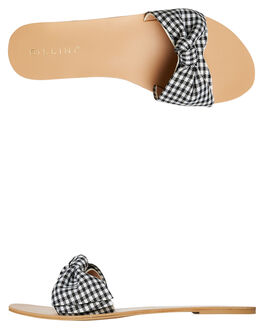 BLACK WHITE GINGHAM WOMENS FOOTWEAR BILLINI SLIDES - S515GING