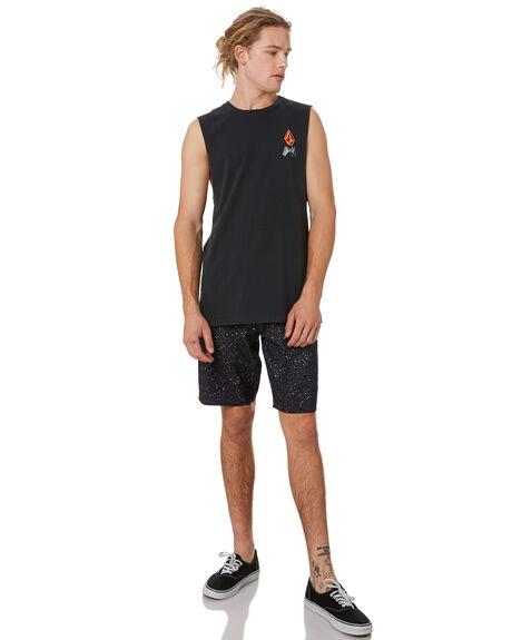BLACK MENS CLOTHING VOLCOM SINGLETS - A3741970BLK