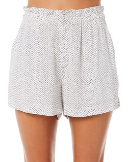 BLACK WHITE PRINT WOMENS CLOTHING ELWOOD SHORTS - W83612BLKPR