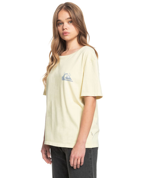 PASTEL YELLOW WOMENS CLOTHING QUIKSILVER TEES - EQWZT03028-YDJ0