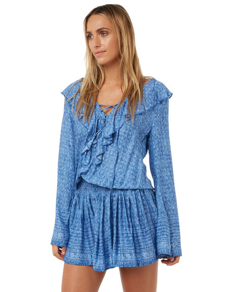 CHAMBRAY BLUE WOMENS CLOTHING RUSTY DRESSES - DRL0897CBL