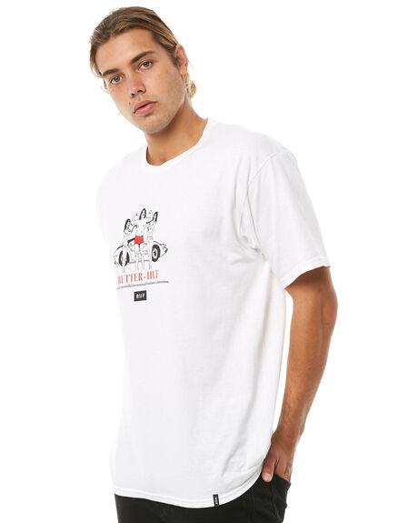 WHITE OUTLET MENS HUF TEES - TS00490WHITE