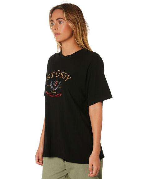 BLACK WOMENS CLOTHING STUSSY TEES - ST196006BLK